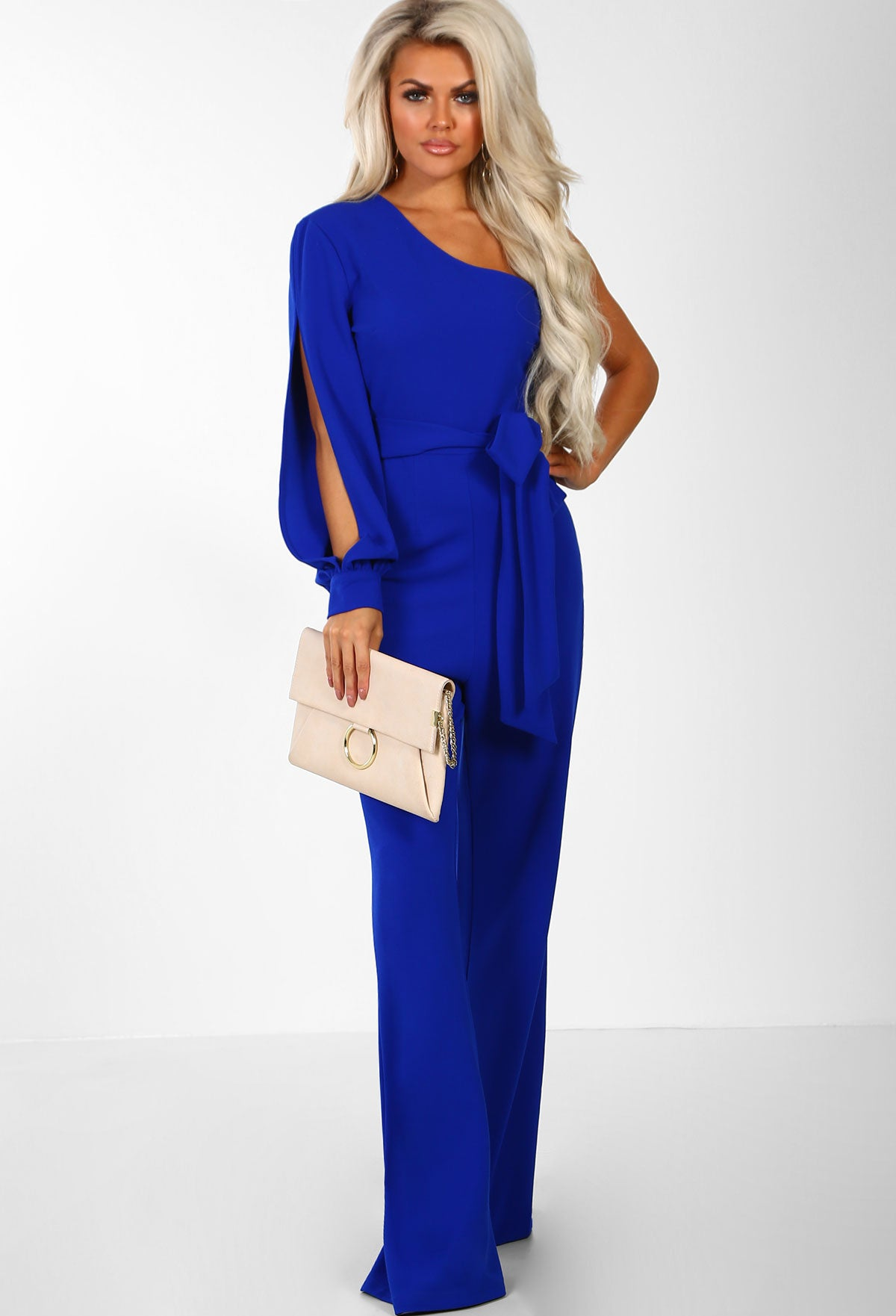 82ded1b29c26 Dark Side Cobalt Blue One Shoulder Wide Leg Jumpsuit – Pink Boutique UK