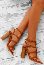 Daytime Diva Tan Studded T-Bar Block Heels