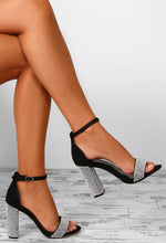 Dazzling Night Black Diamante Embellished Strappy Block Heels