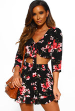 Black Floral Tie Crop Top