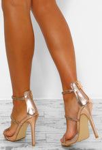 Deep Thoughts Rose Gold Diamante Strap Stiletto Heels