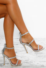 Deep Thoughts Silver Diamante Strap Stiletto Heels