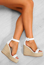 Deepest Desire White Woven Platform Wedges