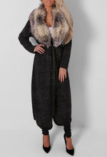 Dell Charcoal Grey Faux Fur Collar Maxi Cardigan