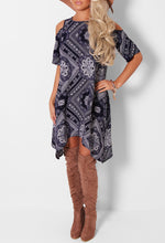 Delphine Navy Printed Cold Shoulder Dress