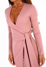 Demand Attention Pink Wrap Front Long Sleeve Midi Dress