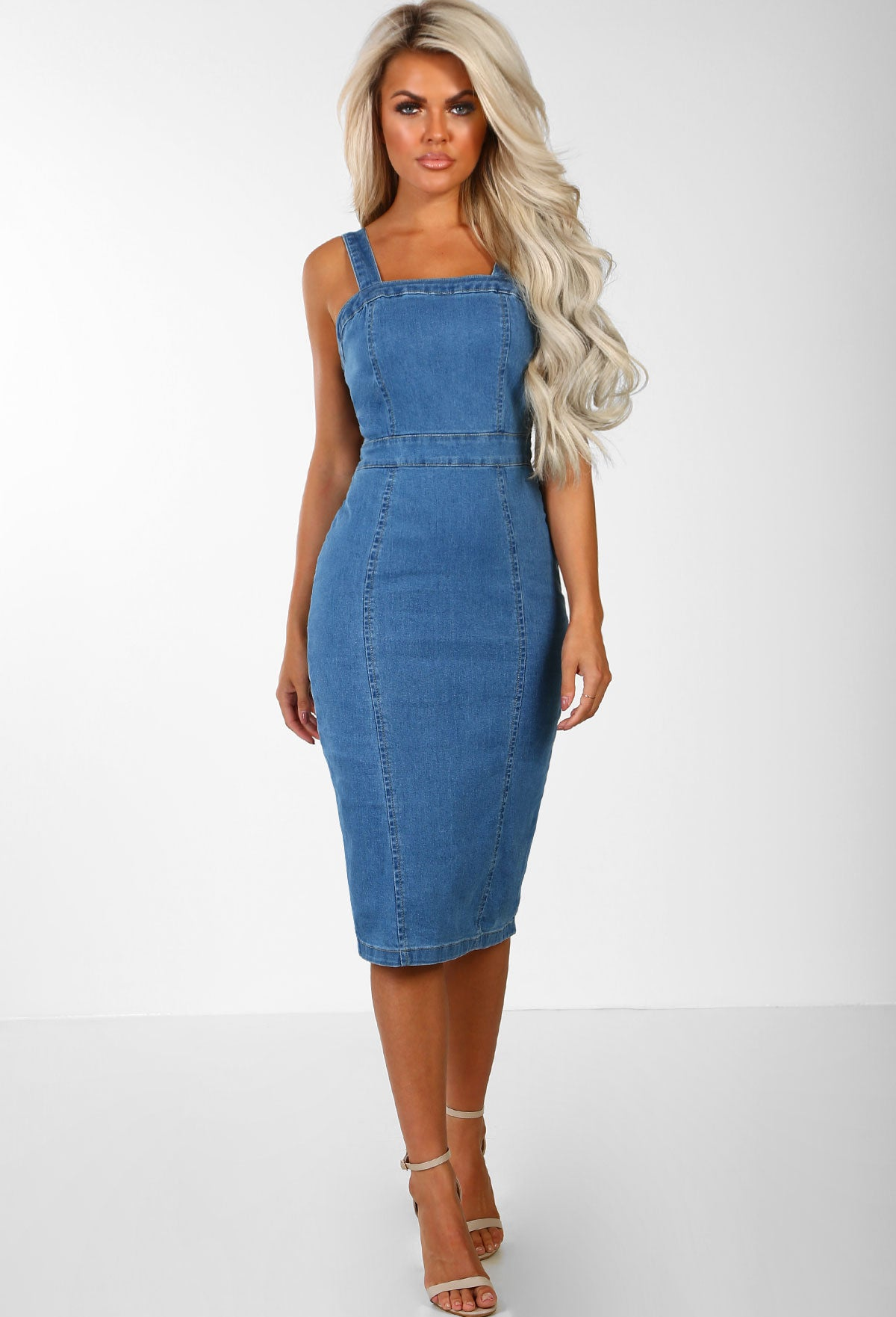 43e2b7d6cd Denim Babe Mid Blue Bodycon Denim Midi Dress – Pink Boutique UK