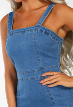 Blue Bodycon Denim Midi Dress - Detail