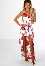 Desert Rose White and Pink Floral Maxi Skirt Playsuit