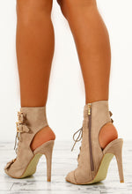 Destructive Nude Faux Suede Lace Up Peep Toe Boots