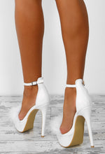 Devoted Doll White Feather Strap Platform Heels