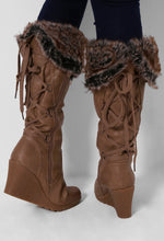 Diablo Mocha Faux Fur Lined Wedge Boots