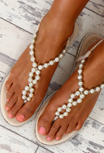 Diamond Arcade Cream Diamante and Pearl Embellished Sandals