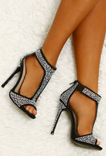 Diamond Diva Black Diamante T-Bar Heels