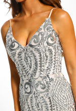 Silver Sequin Maxi Dress - Detail
