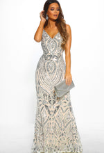 Silver Sequin Maxi Dress - Front with Accessory