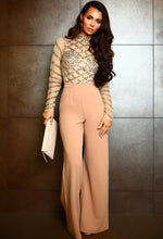 PREMIUM Diamonds Are Forever Nude Mesh Gold Sequin Embellished Bodysuit