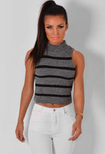 Dinah Grey and Black Stripe Sleeveless Crop Top