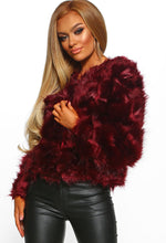 Dirty Martini Burgundy Faux Fur Cropped Coat