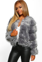 Dirty Martini Grey Faux Fur Cropped Coat
