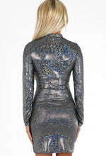 Disco Diva Silver Foil Metallic Long Sleeve Mini Dress