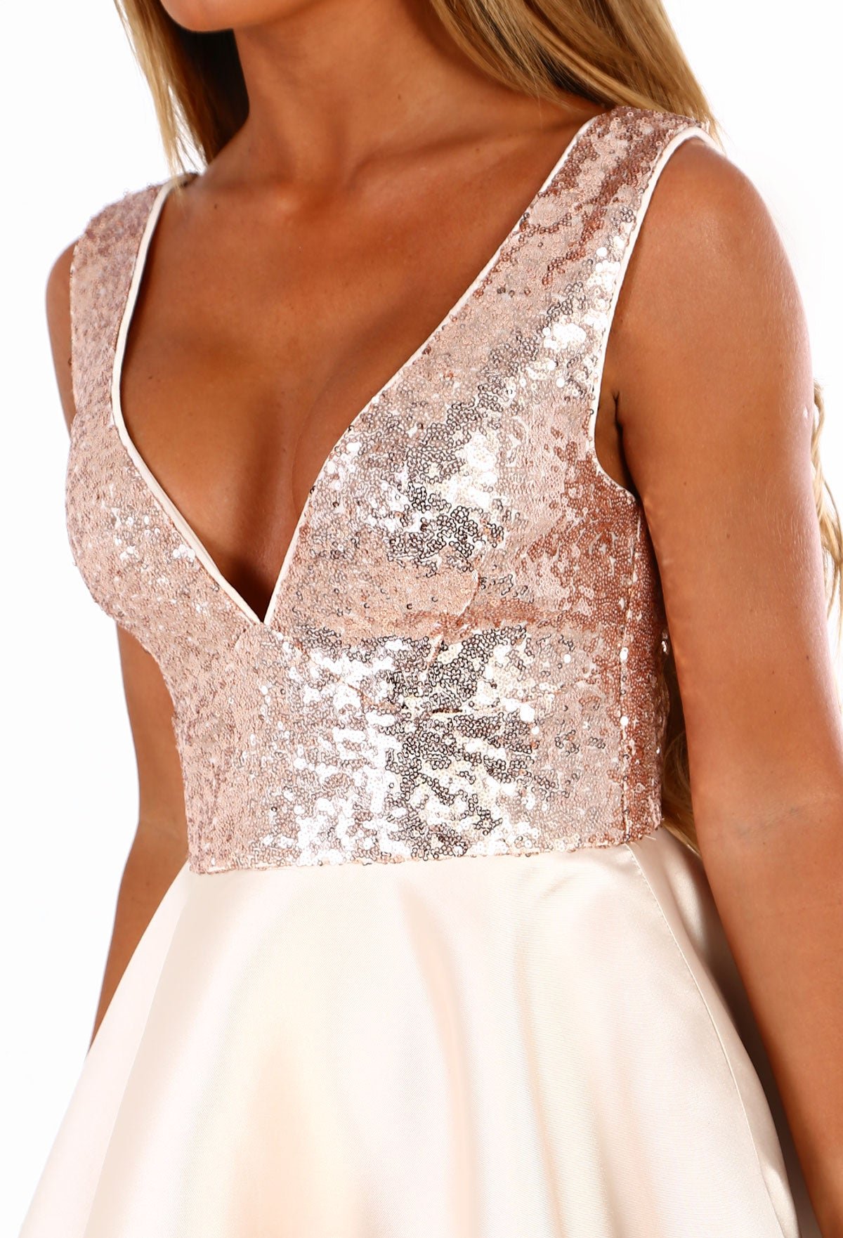 f856bfd5 Disco Doll Rose Gold Sequin Multi Layer Skater Dress – Pink Boutique UK