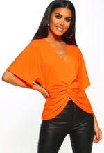 Neon Orange Twist Front Batwing Top - Front View