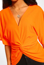 Neon Orange Twist Front Batwing Top - Close up View