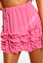Ditsy In The Sun Pink Frill Mini Skirt Cover Up