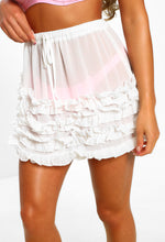 White Frill Mini Skirt Cover Up - Close up view
