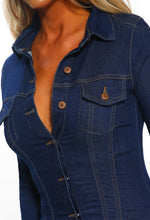 Indigo Button Front Denim Shirt Dress - Detail