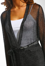 Diva Fever Black Metallic Knitted Belted Cardigan