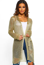Diva Fever Gold Metallic Knitted Belted Cardigan