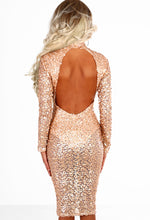Diva Vibes Gold Sequin Backless Long Sleeve Midi Dress