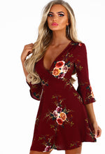 Dolly Bird Burgundy Floral Frill Wrap Mini Dress