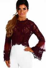 Dolly Mixture Plum Lace Flare Sleeve Top