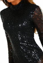 Black Sequin Long Sleeve Midi Dress - Front Detail