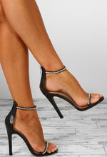 Don't Kill My Vibe Black Diamante Embellished Barely There Heels