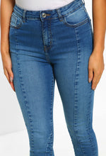 Blue Panelled High Waist Skinny Jeans - Close Up View