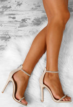 Don't Kill My Vibe Nude Diamante Embellished Barely There Heels