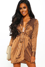 Bronze Polka Dot Tie Front Shirt Dress
