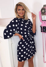 Dotty Daydream Navy Polka Dot Tie Waist Mini Dress