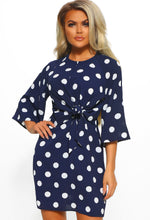 Navy Polka Dot Tie Waist Mini Dress - Front