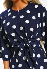 Navy Polka Dot Tie Waist Mini Dress - Detail