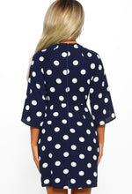 Navy Polka Dot Tie Waist Mini Dress - Back
