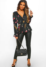 Dotty Over You Black Multi Print Long Sleeve Wrap Top