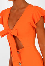 Orange Tie Front Buttoned Mini Dress - Front Detail