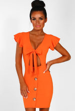 Orange Tie Front Buttoned Mini Dress - Front Closeup