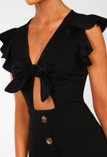 Downtown Doll Black Tie Front Buttoned Mini Dress