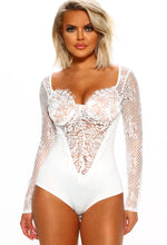 White Lace Bodysuit With Lining
